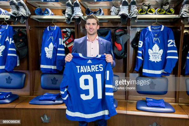 TORONTO ON JULY Tavares posing with his jersey in the Leafs locker room The Toronto Maple Leafs have signed John Tavares for seven years $77 million...