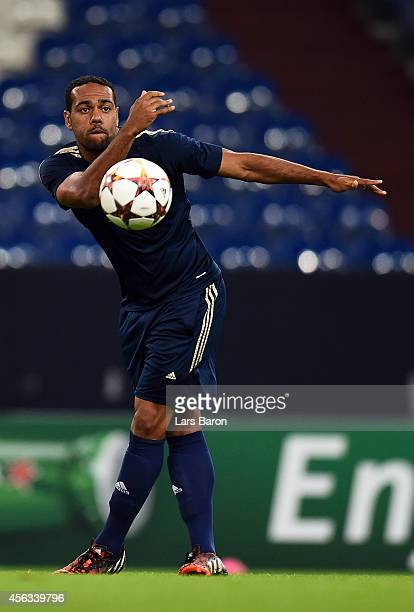 Tavares warms up during a NK Maribor training session prior to their Champions League match against FC Schalke 04 at Veltins Arena on September 29,...