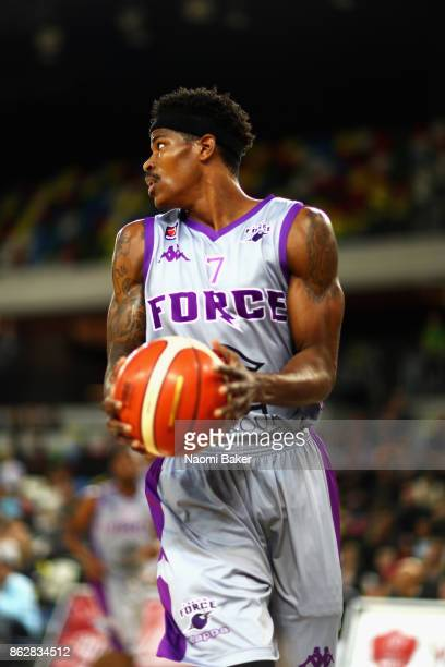 Tavarion Nik of Leeds Force during a British Basketball League match between London Lions and Leeds Force at the Copper Box Arena on October 15 2017...