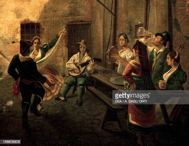 Tavern courtyard dance Italy 18th century Rome Museo Di Roma In Trastevere
