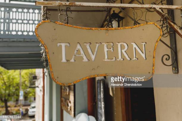 Tavern sign in Tbilisi streets