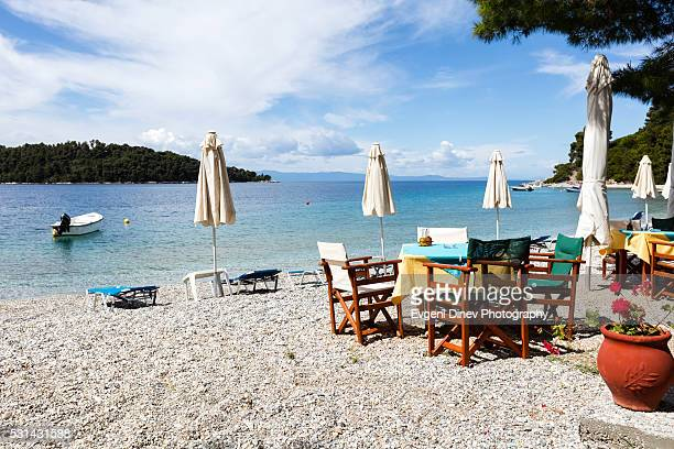 taverna on the beach - volos stock pictures, royalty-free photos & images