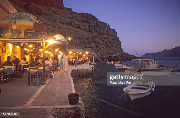 Tavernas in Amoudi Bay
