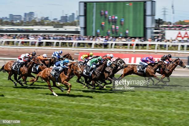 Tavi Bay ridden by Michelle Payne wins Red Rock Deli Plate at Flemington Racecourse on November 03 2016 in Flemington Australia