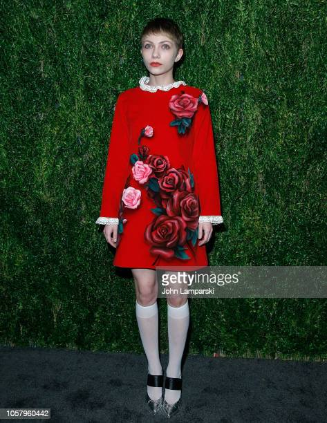 Tavi Gevinson attends CFDA / Vogue Fashion Fund 15th Anniversary event at Brooklyn Navy Yard on November 5 2018 in Brooklyn New York