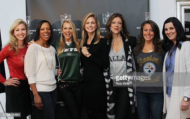 Tavia Hunt Gwen Reese Suzanne Johnson Tanya Snyder Charlotte Jones Anderson Meghan Rooney and Kathleen Mara visit the NFL Style Suite at the Bryant...