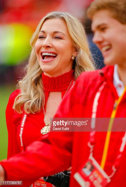 Tavia Hunt wife of Kansas City Chiefs chairman and CEO Clark Hunt smiles during pregame prior to the game between the Kansas City Chiefs and the...