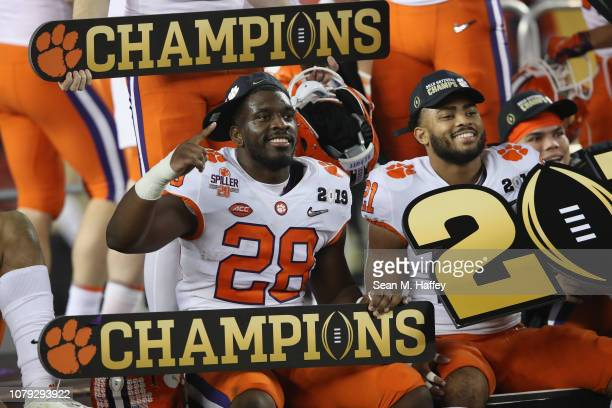 Tavien Feaster of the Clemson Tigers celbrates after his teams 4416 win over the Alabama Crimson Tide in the CFP National Championship presented by...