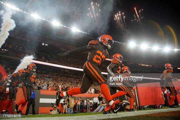 Tavierre Thomas of the Cleveland Browns runs onto the field prior to the start of the game against the Los Angeles Rams at FirstEnergy Stadium on...