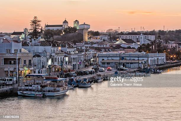 Tavira and harbor at sunset, Algarve, Portugal