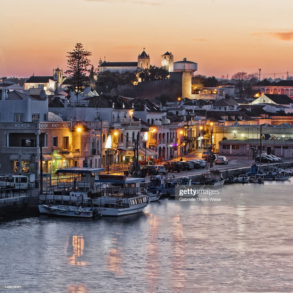 Tavira and harbor at sunset, Algarve, Portugal : Stock Photo
