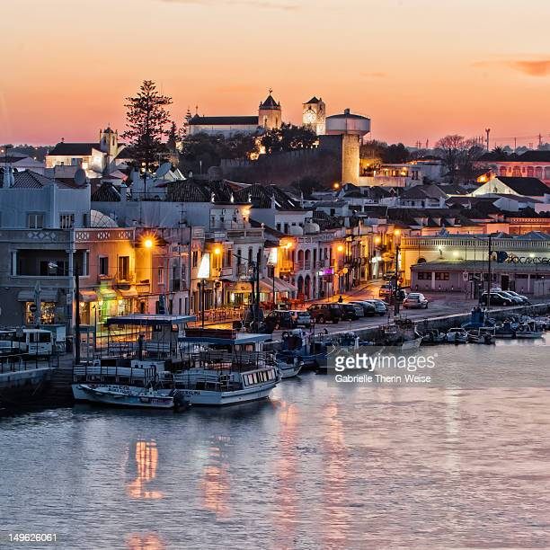 Tavira and harbor at sunset, Algarve, Portugal