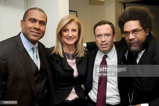 Tavis Smiley Arianna Huffington Dana Milbank and Dr Cornel West attend the panel hosted by Tavis Smiley on America's future on January 13 2011 in...