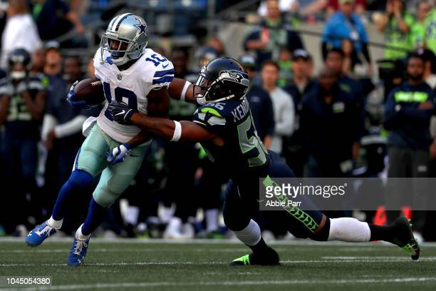 Tavon Austin of the Dallas Cowboys works against Mychal Kendricks of the Seattle Seahawks in the fourth quarter during their game at CenturyLink...