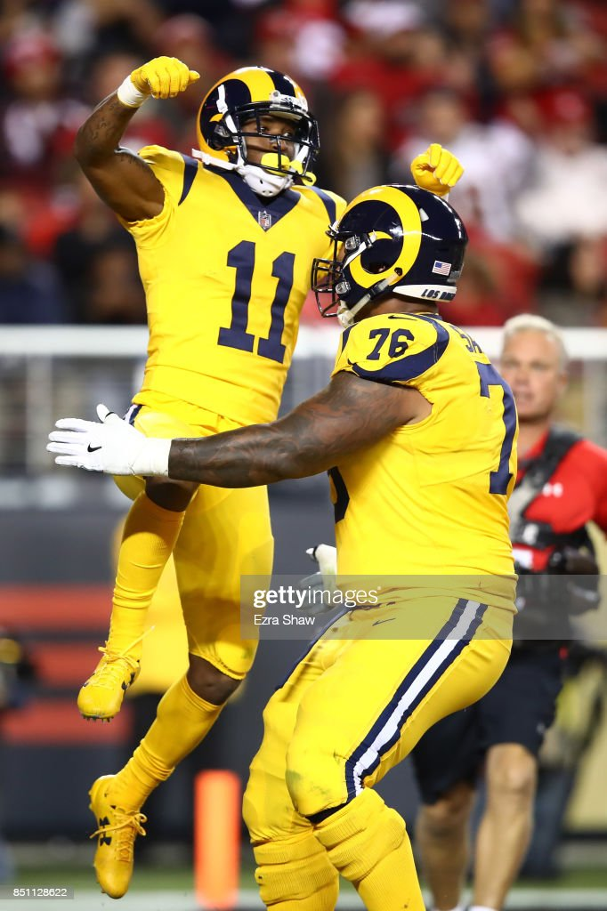 Tavon Austin #11 of the Los Angeles Rams celebrates after a catch against the San Francisco 49ers during their NFL game at Levi's Stadium on September 21, 2017 in Santa Clara, California.