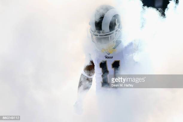 Tavon Austin of the Los Angeles Rams enters the field through smoke prior to a game against the New Orleans Saints at Los Angeles Memorial Coliseum...