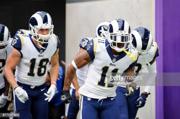 Tavon Austin of the Los Angeles Rams leads the win receivers onto the field for warmups before the game against the Minnesota Vikings on November 19...