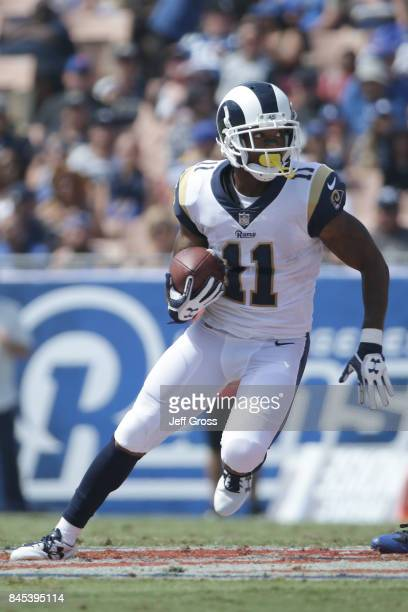 Tavon Austin of the Los Angeles Rams runs the ball during the third quarter in the game against the Indianapolis Colts at Los Angeles Memorial...