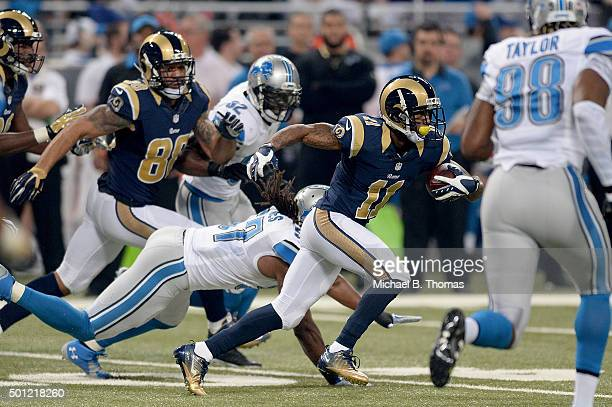 Tavon Austin of the St Louis Rams carries the ball in the first quarter against the Detroit Lions at the Edward Jones Dome on December 13 2015 in St...