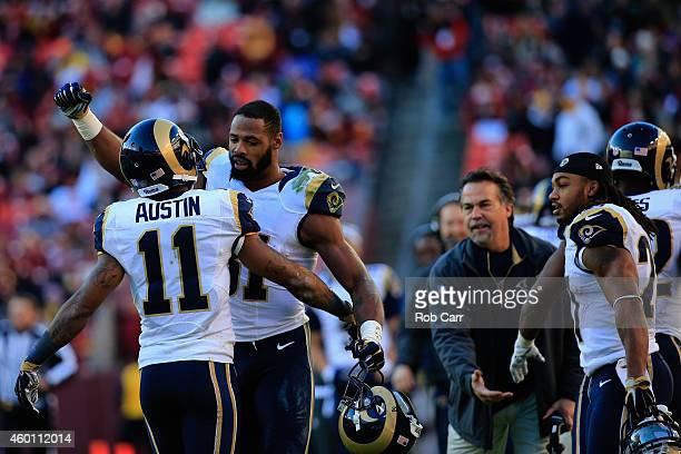 Tavon Austin of the St Louis Rams celebratres with teammate Kenny Britt of the St Louis Rams after Austin returned a punt for a second half touchdown...