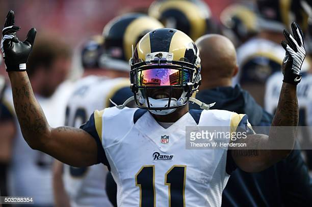 Tavon Austin of the St Louis Rams warms up prior to playing the San Francisco 49ers during their NFL game at Levi's Stadium on January 3 2016 in...