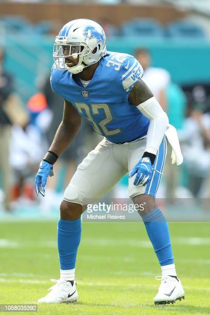 Tavon Wilson of the Detroit Lions in action against the Miami Dolphins at Hard Rock Stadium on October 21 2018 in Miami Florida