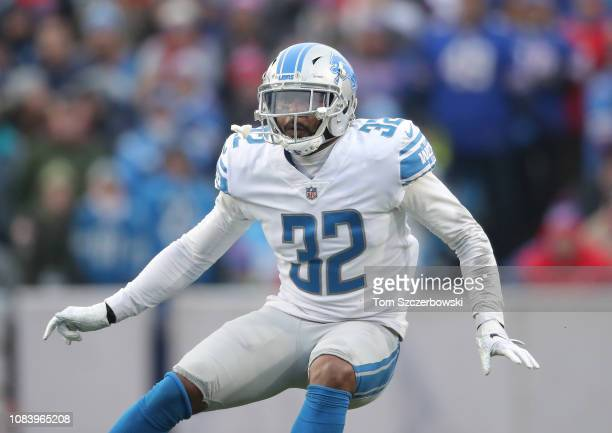 Tavon Wilson of the Detroit Lions in action on special teams as the Lions punt the ball in the fourth quarter during NFL game action against the...