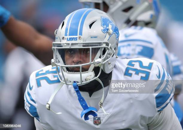 Tavon Wilson of the Detroit Lions warms up before the start of NFL game action against the Buffalo Bills at New Era Field on December 16 2018 in...