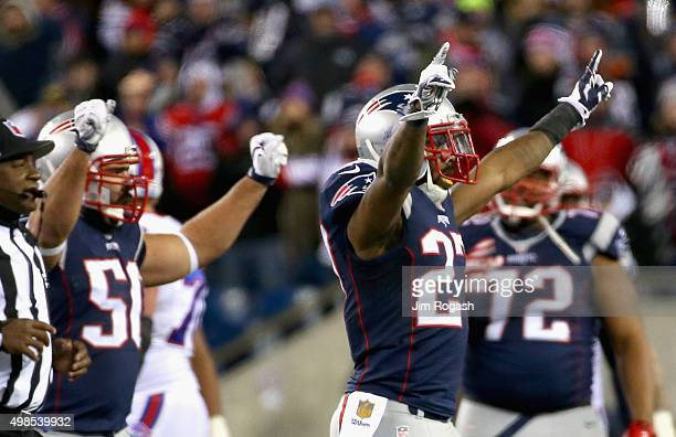 Tavon Wilson of the New England Patriots reacts during the fourth quarter against the Buffalo Bills at Gillette Stadium on November 23 2015 in...