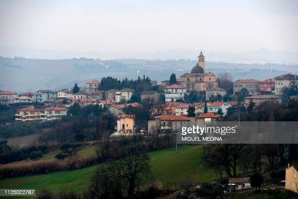 Tavullia, the hometown of Italian motorcycling racer Valentino Rossi, is pictured on January 29, 2019. - Everything in the Italian village reminds...