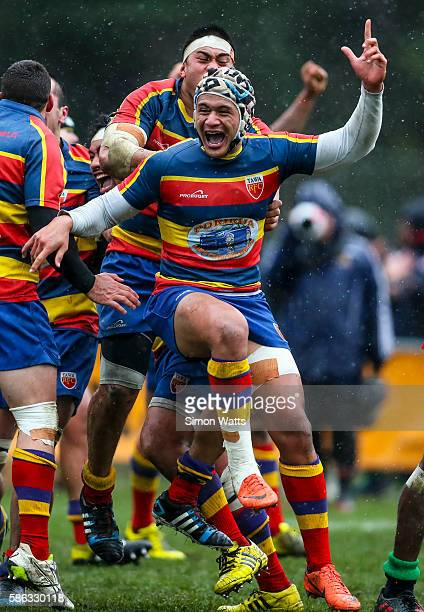 Tawa players celebrate at the fulltime whistle during the Jubilee Cup Final match between Marist St Pat's and Tawa at Jerry Collins Stadium on August...