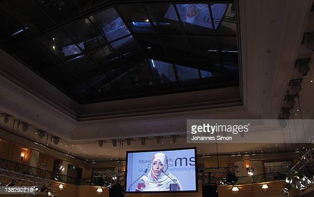 Tawakkul Karman Nobel peace laureate 2011 delivers a speech during day 3 of the 48th Munich Security Conference at Hotel Bayerischer Hof on February...