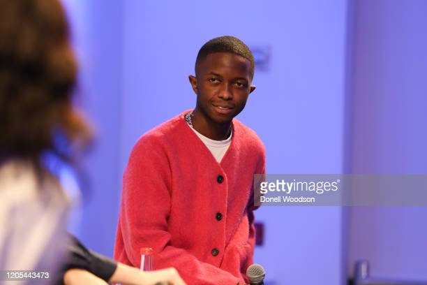 Tawanda Chiweshe speaks to a crowd at the Evian Virgil Abloh Collaboration party at Milk Studios on February 10 2020 in New York City