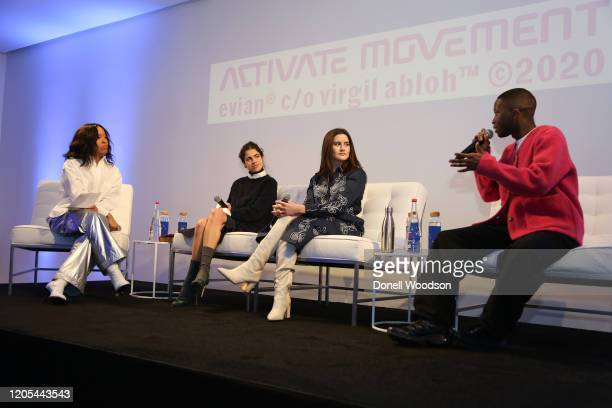 Tawanda Chiweshe speaks to the crowd and other panelist at the Evian Virgil Abloh Collaboration party at Milk Studios on February 10 2020 in New York...