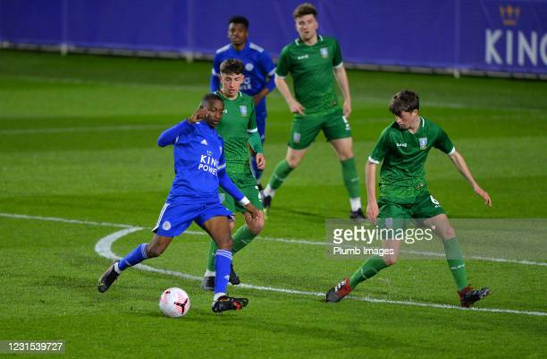 Tawanda Maswanhise of Leicester City with Cian Flannery of Sheffield Wednesday during Leicester City v Sheffield Wednesday: FA Youth Cup at Leicester...