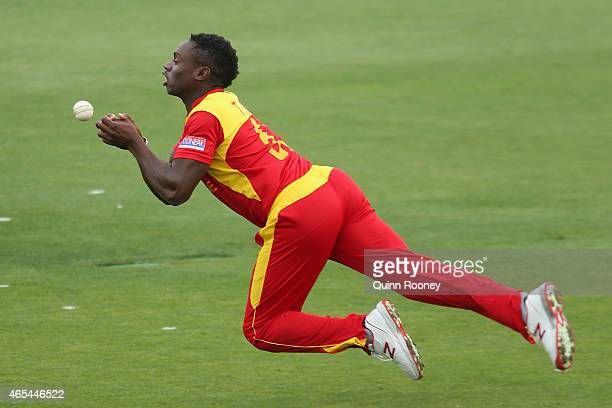 Tawanda Mupariwa of Zimbabwe drops a catch during the 2015 ICC Cricket World Cup match between Zimbabwe and Ireland at Bellerive Oval on March 7,...