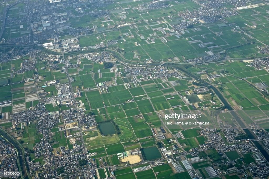 Tawaramoto town in Nara prefecture day time aerial view from airplane : ストックフォト