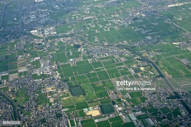 Tawaramoto town in Nara prefecture day time aerial view from airplane