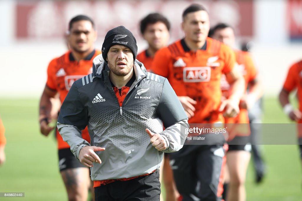 Tawera Kerr-Barlow of the All Blacks during a New Zealand All Blacks training session at Alexandra Park on September 12, 2017 in Auckland, New Zealand.