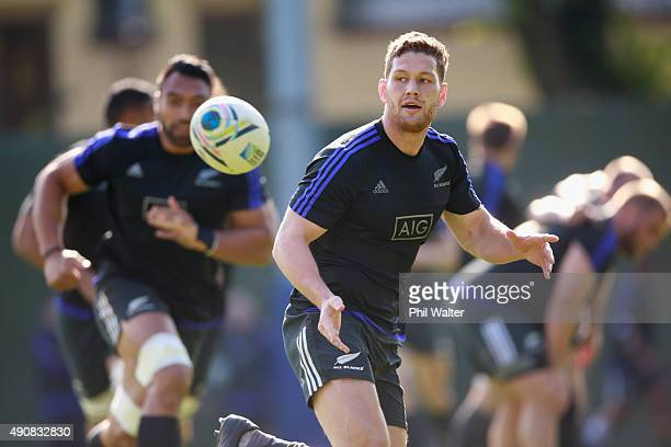 Tawera KerrBarlow of the All Blacks passes during a New Zealand All Blacks Captain's Run at Sophia Gardens on October 1, 2015 in Cardiff, United...