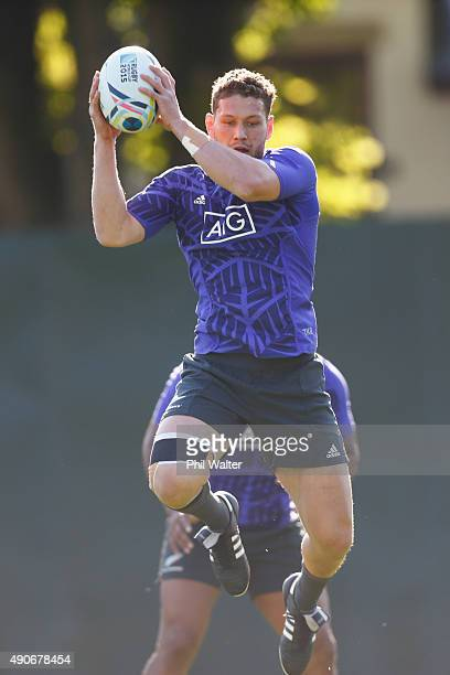 Tawera KerrBarlow of the All Blacks takes a catch during a New Zealand All Blacks Training Session at Sophia Gardens on September 30, 2015 in...
