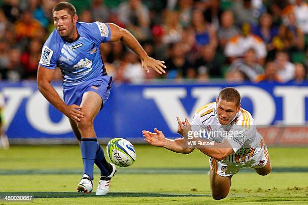 Tawera KerrBarlow of the Chiefs passes the ball during the round six Super Rugby match between the Force and the Chiefs at nib Stadium on March 22...