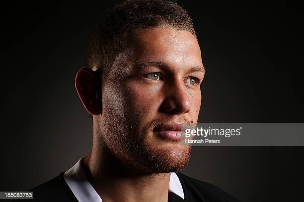 Tawera KerrBarlow poses during a New Zealand All Blacks portrait session at the Heritage Hotel on November 1 2012 in Auckland New Zealand