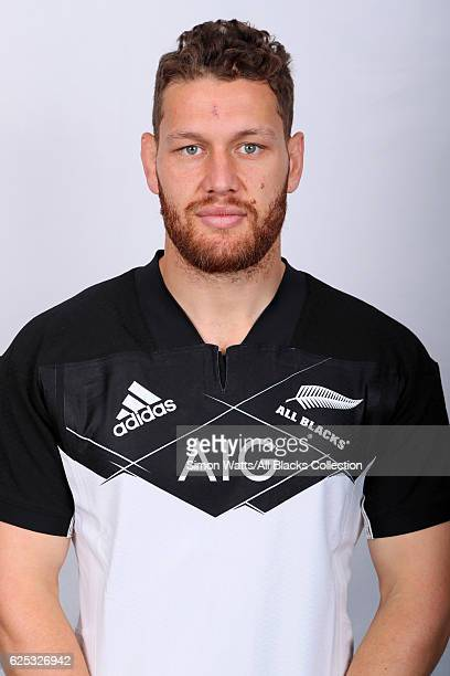 Tawera KerrBarlow poses during the All Blacks End of Year Tour 2016 Headshots Session at Auckland International Airport Novotel on October 28 2016 in...