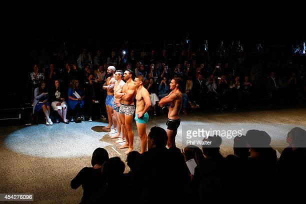 Tawera KerrBarlow TJ Perenara Victor Vito Gillies Kaka and DJ Forbes pose in Jockey underwear during the Resene Designer Selection Show at New...