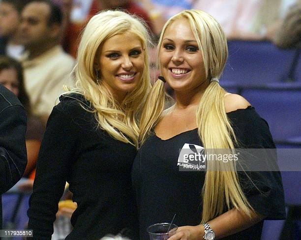 Tawny Roberts and Mary Carey at Los Angeles Lakers game against the Minnesota Timberwolves at the Staples Center in Los Angeles Calif on Thursday...