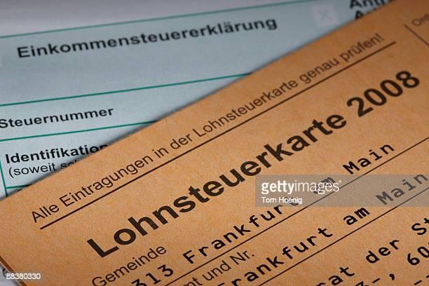 Tax card, close-up