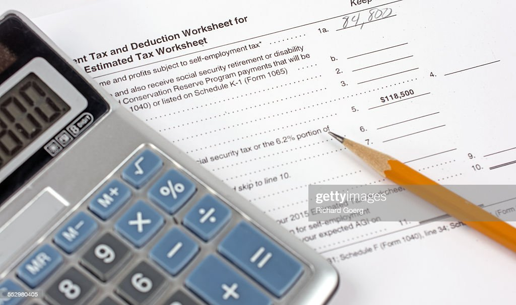 tax deduction worksheet stock photo getty images
