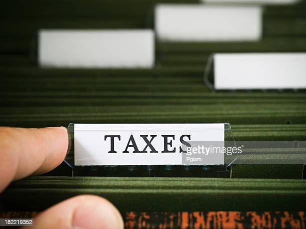 Tax file in a filing cabinet