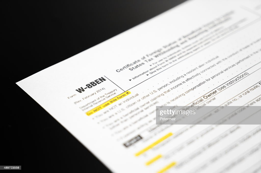 Irs Tax Form W8ben Stock Photo Getty Images